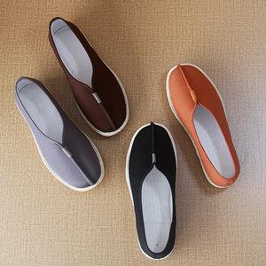 男士居士鞋老北京布鞋和尚春秋季僧侣鞋禅鞋千层牛筋底复古僧尼鞋