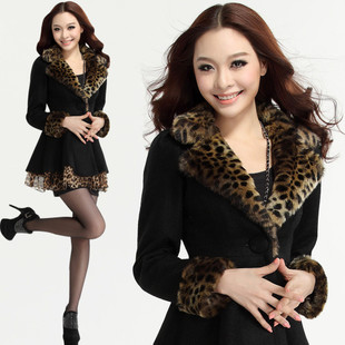 2015 new women s winter coat wool coat Slim Korean long section of leopard fur collar cashmere coat