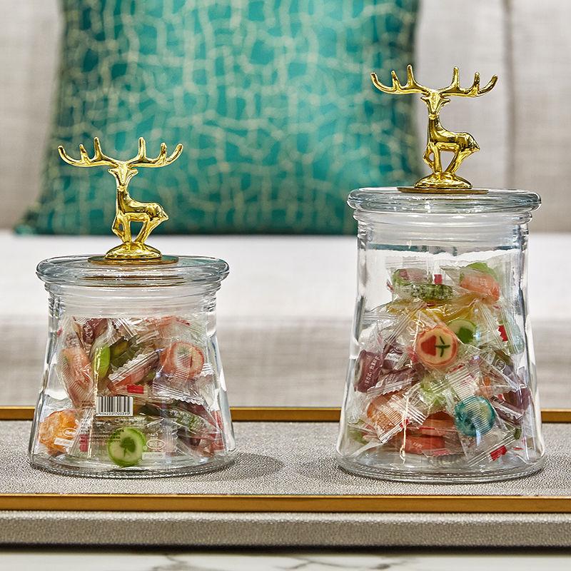 简约欧式金鹿透明玻璃密封样板房客厅装饰储物罐糖果干果罐收纳罐