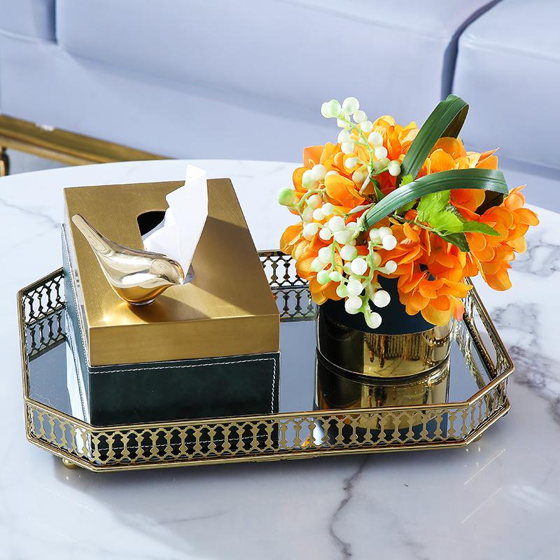 轻奢墨绿皮革纸巾盒欧式美式高档茶几收纳摆件客厅家居饰品套装