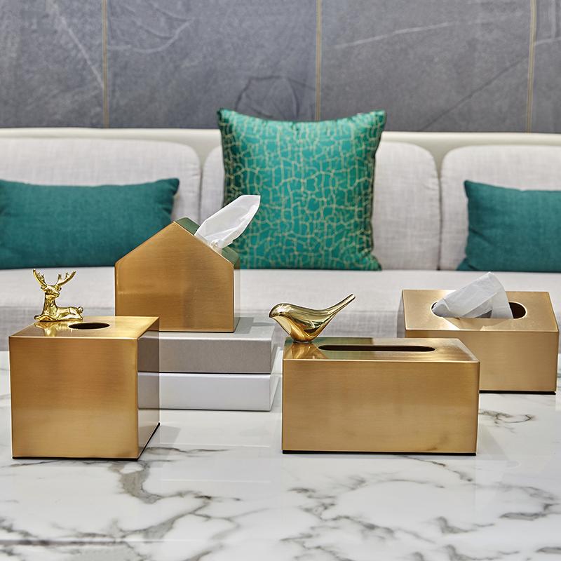 送磁力垫黄铜色金属小房子纸巾盒INS北欧风轻奢长方形装饰抽纸盒