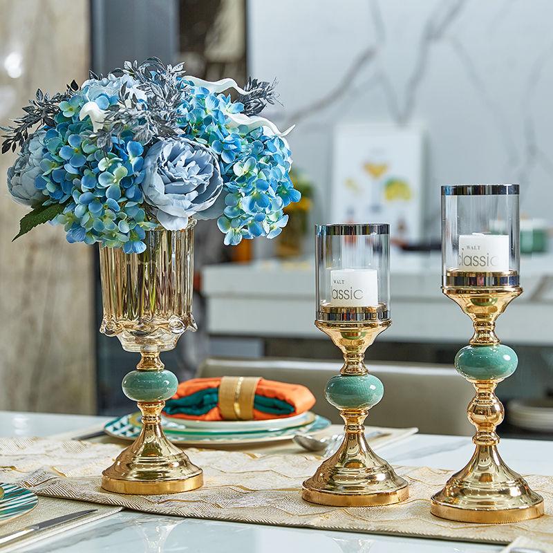 轻奢金色蜡烛台冰裂纹陶瓷烛光晚餐道具 简约欧餐桌客厅玄关装饰