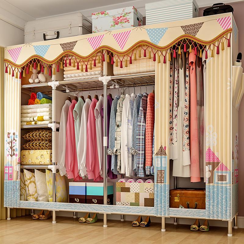 简易衣柜现代简约布衣柜钢管加粗加固家用卧室组装收纳挂柜出租房