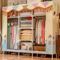 简易衣柜简约现代经济型布衣柜钢管加粗加固全钢架双人布艺收纳柜
