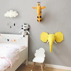 壁饰北欧风纯棉帆布立体动物装饰儿童房壁挂幼儿园装饰可爱动物头