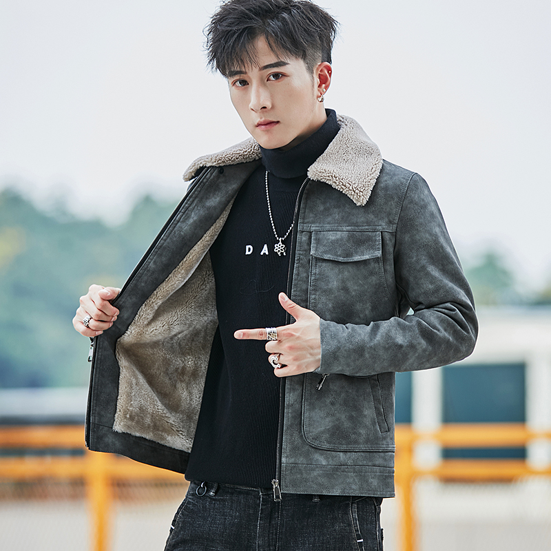 2020 new winter fur coat mens coat Korean plush leather jacket cool trend fur integrated thickened top