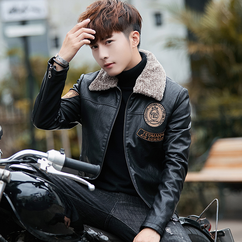 Fur mens winter new style Plush thickened leather jacket Korean version slim fur integrated leather and cotton padded jacket fashion for youth