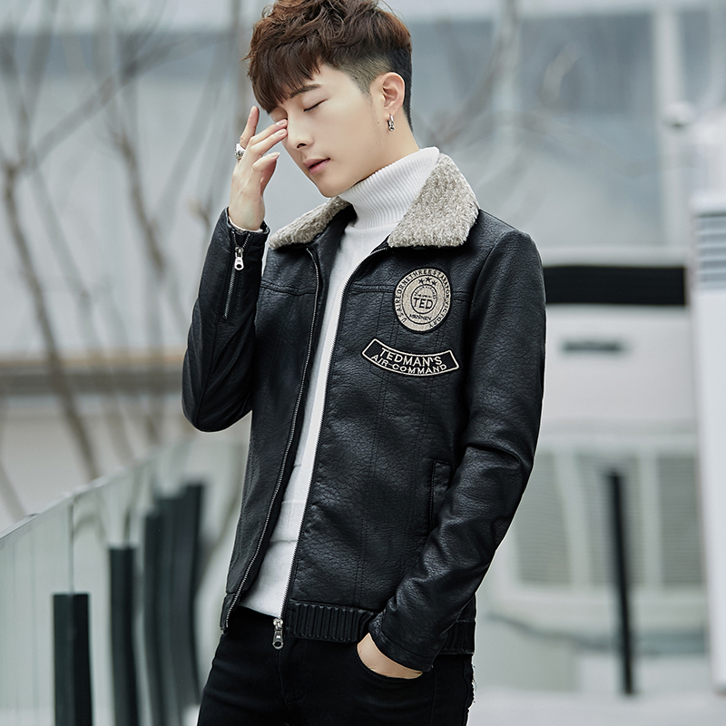 Winter new style mens fur coat Plush thickened PU leather jacket mens handsome fur integrated thermal locomotive coat