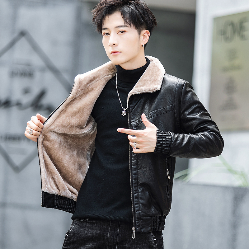 New style leather mens coat in autumn and winter of 2019