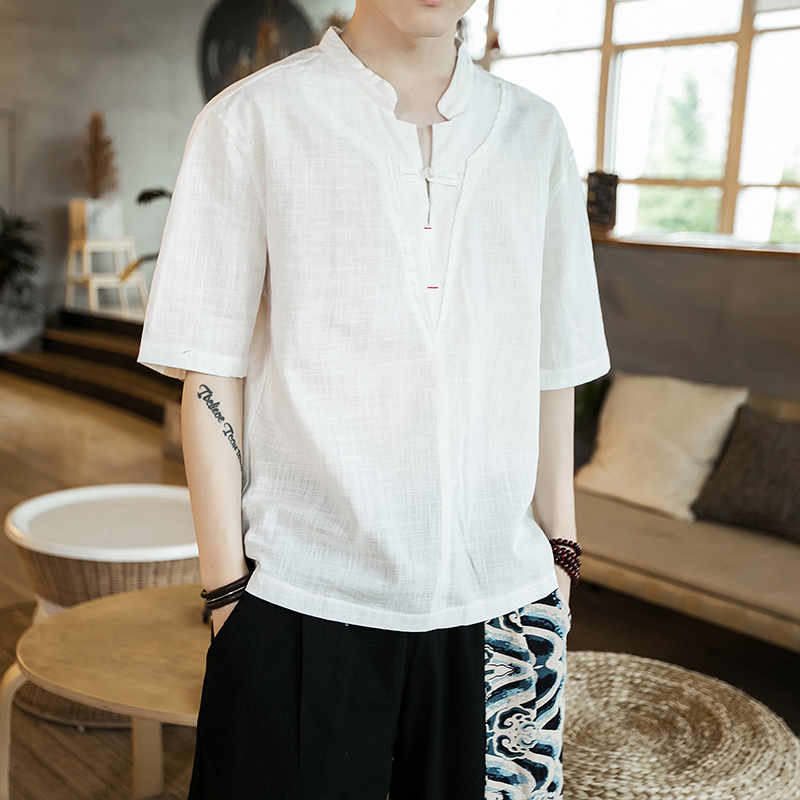 Mens short sleeve T-shirt Han suit mens buckle Chinese Style Mens embroidered linen half sleeve loose oversized top in summer