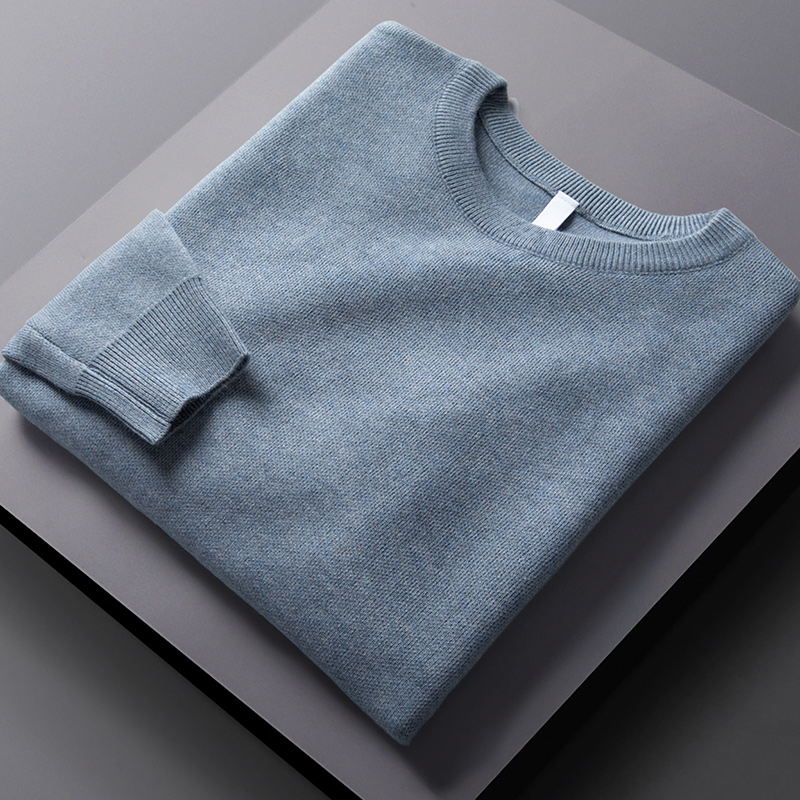 Spring and autumn round neck sweater men's tide brand wild blue thin loose casual slim bottoming long-sleeved sweater