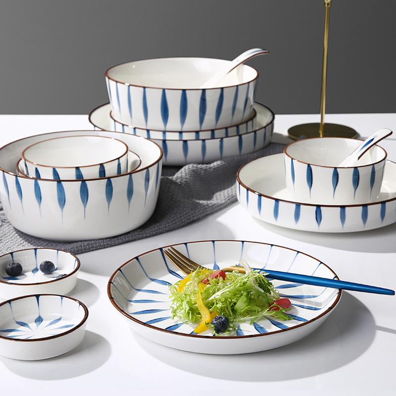 日式米饭碗轻奢高档陶瓷饭碗吃饭碗个性大号汤碗面碗餐具套装家用