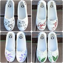 手绘帆布鞋女小白鞋套脚浅口低帮软底舒适清新文艺中国风包邮促销