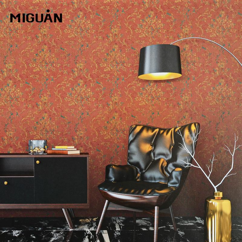 米冠轻奢美式无缝墙布暗红色复古卧室书房客厅电视背景墙酒店壁布