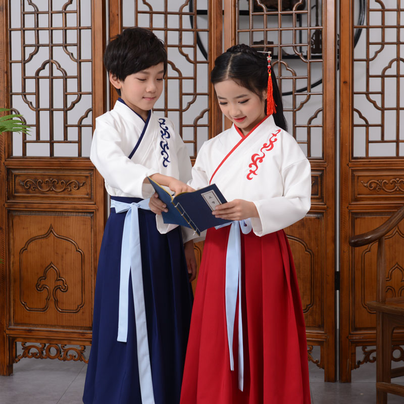 Childrens ancient clothes Han clothes primary school students traditional Chinese clothes Chinese style boys and girls three character Sutra performance clothes