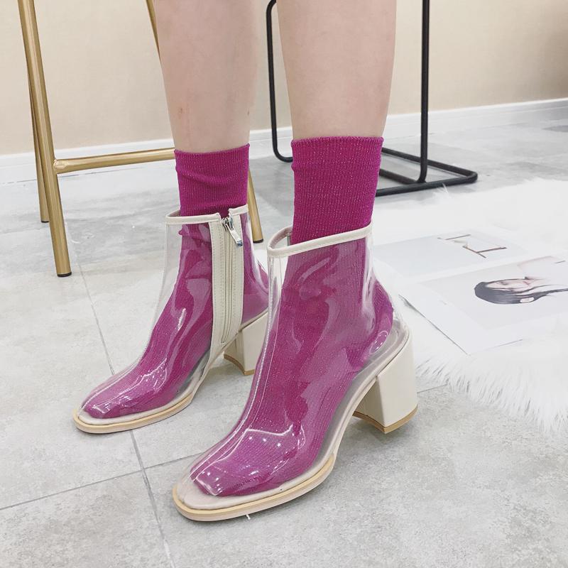 透明靴子女夏2018新款韩版百搭时尚方头PVC凉靴粗跟高跟夏天短靴