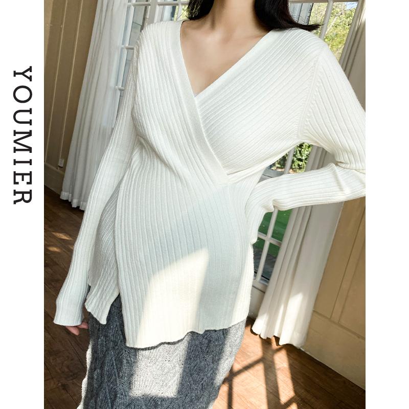 优密儿孕妇装2021春装新款时尚孕妇毛衣短款V领交叉针织哺乳上衣