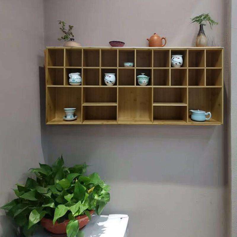 Bamboo hanging wall supports customized tea set, cup shelf, tea ceremony, Duobao Pavilion, high quality storage cabinet, pot shelf