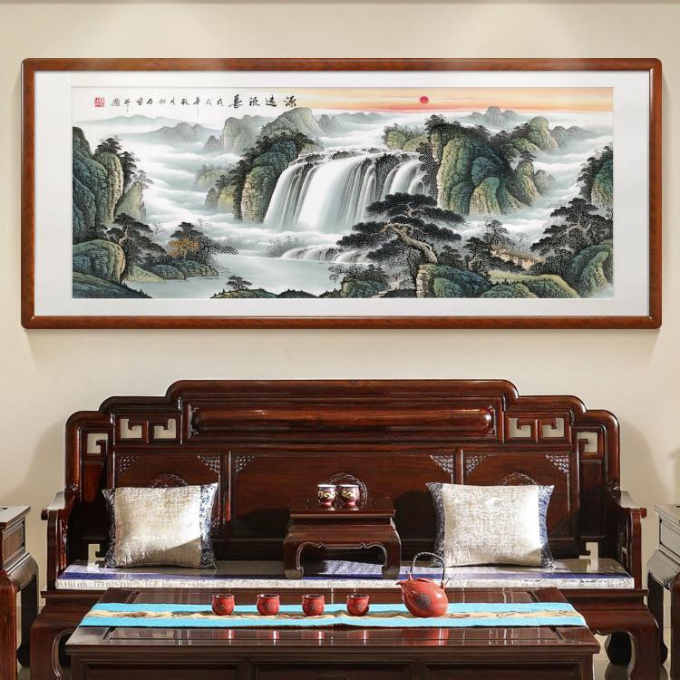 廊源遠流長名家純手繪山水國畫聚寶盆海林畫中式客廳辦公室掛畫