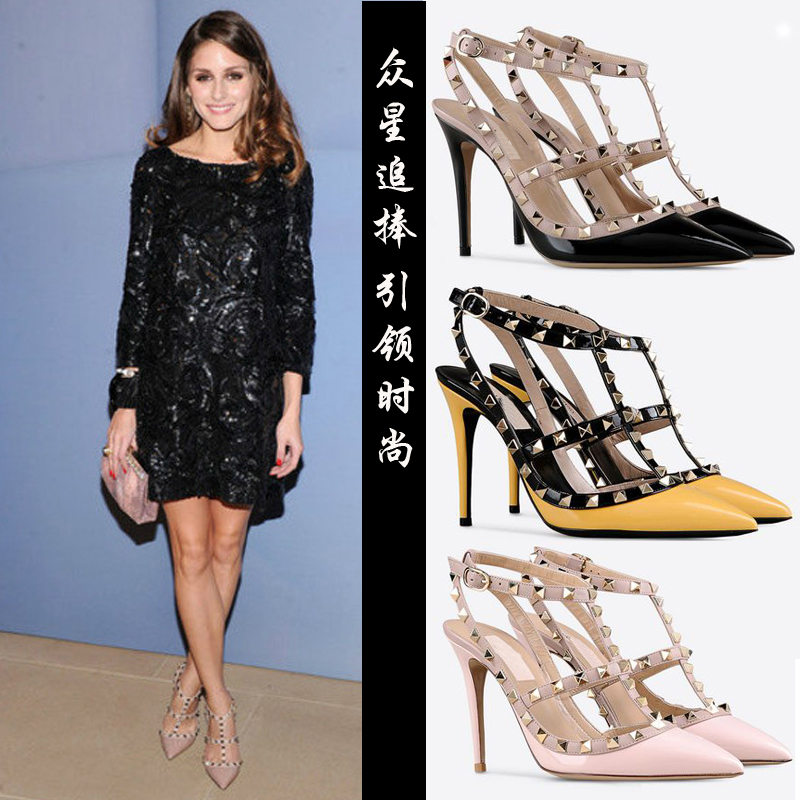 New rivet pointed high-heeled shoes thin heel patent leather color matching ankle strap sexy Roman women sandals Bridesmaid shoes