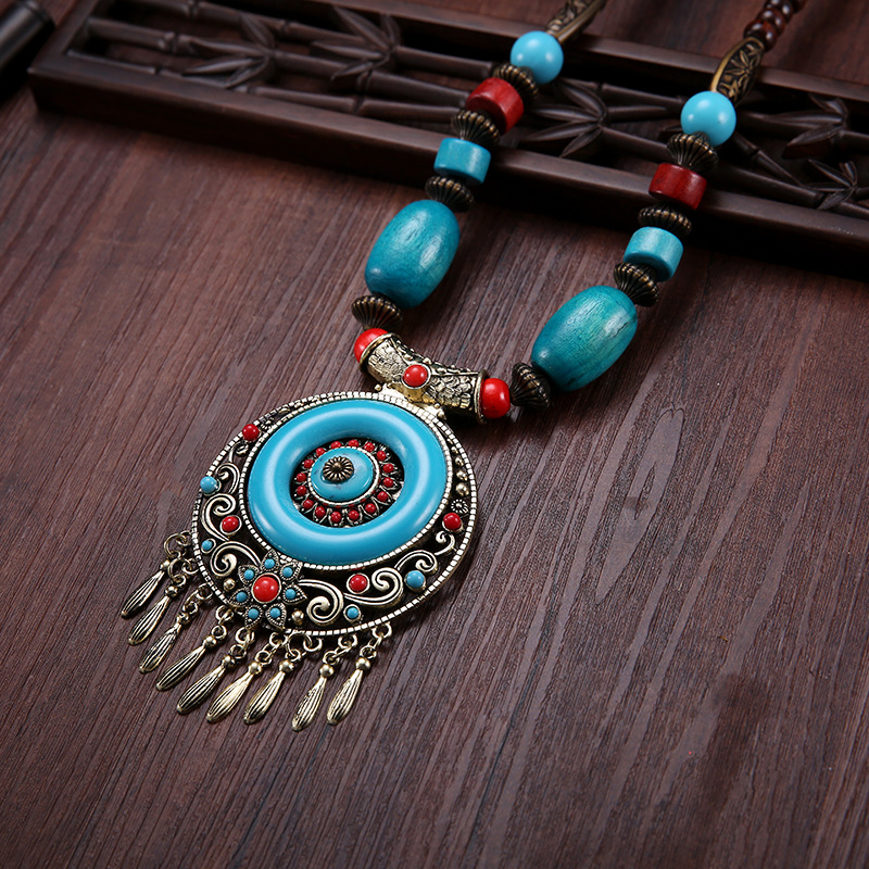 Tibetan jewelry retro wood beads ethnic style gem long tassel square dancing wool clothes Pendant Necklace