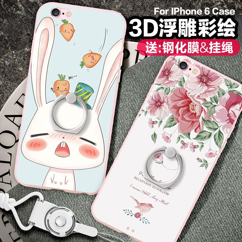 景为iPhone6手机壳6s苹果6splus女款挂绳硬壳带指环支架卡通可爱p全包防摔i6s个性创意六puls韩国潮牌ipone6