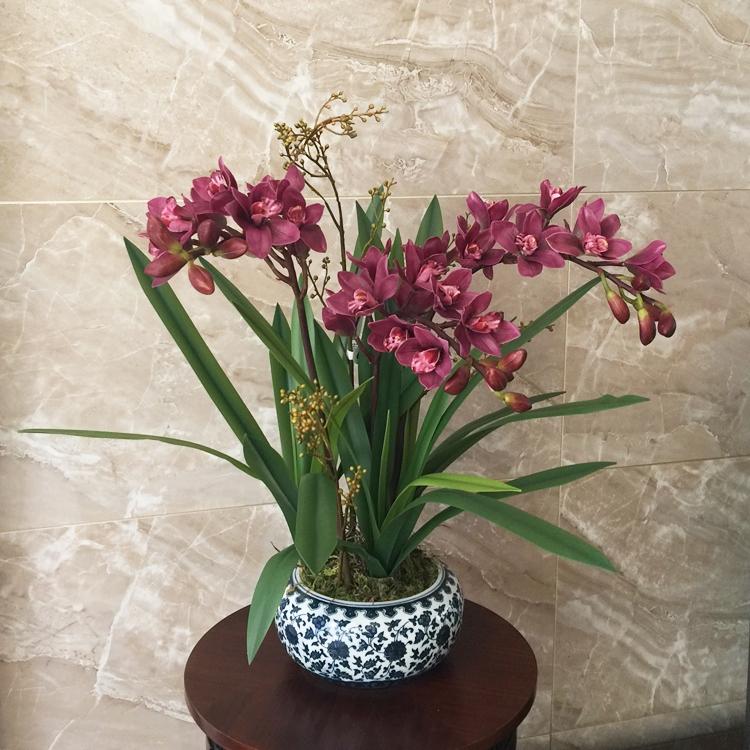 高档蕙兰仿真花现代美式新中式客厅花艺套装蝴蝶兰样板间玄关花