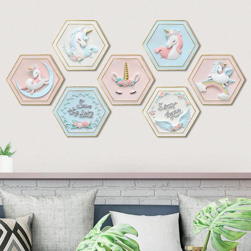 假一赔十独角兽壁挂装饰品客厅背景墙北欧创意家居奶茶店ins墙上挂件壁画