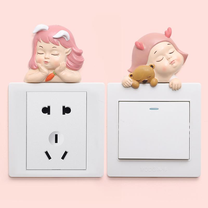 开关贴保护套创意卡通动物墙贴3d立体灯饰贴少女心可爱插座装饰贴