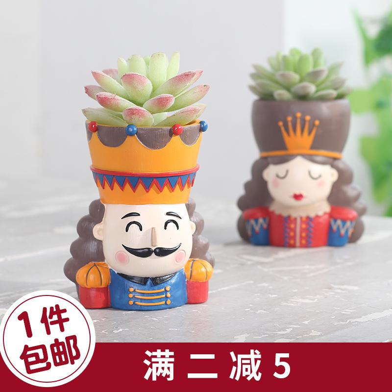 美式胡桃童话ins花盆多肉植物创意个性可爱卡通微景观盆栽小摆件