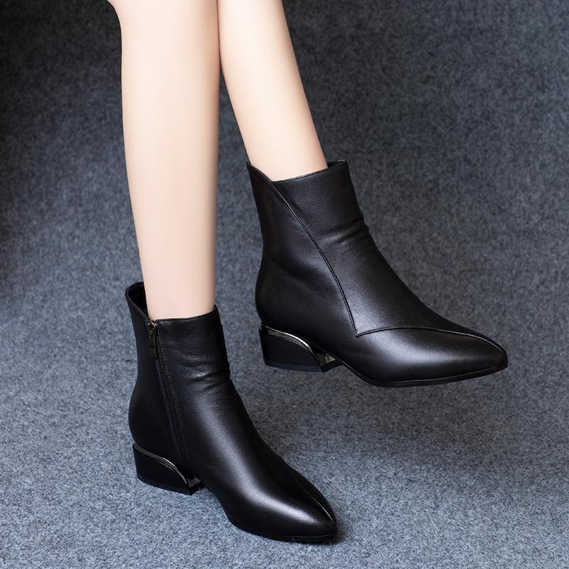 小短靴女真皮平底加绒粗跟中跟2019秋冬新款鞋子冬皮鞋棉鞋马丁靴