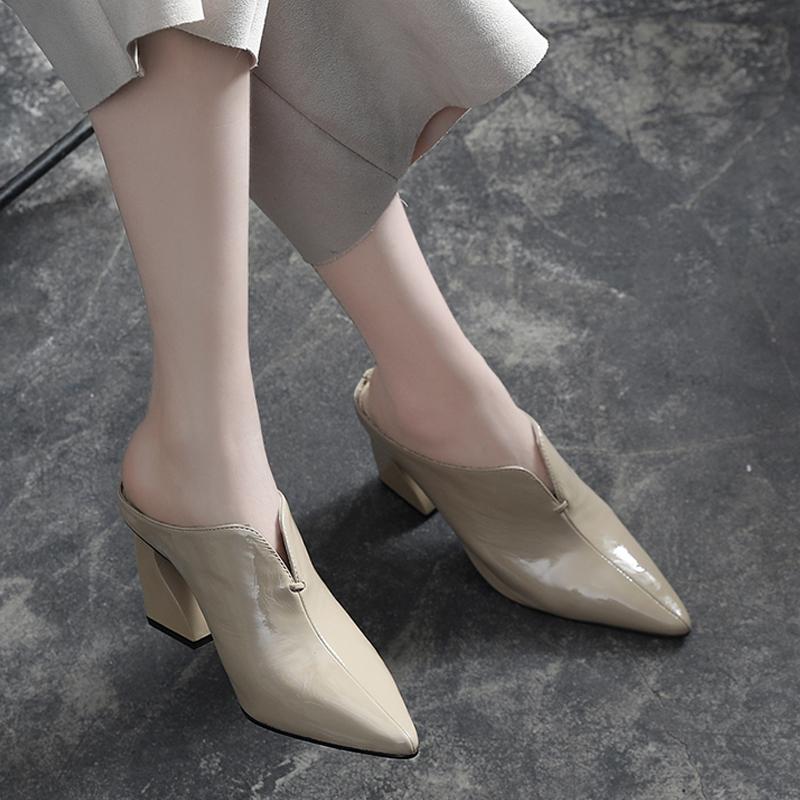 尖头包头拖鞋女真皮粗跟2019夏季新款2020百搭高跟鞋半拖外穿皮拖