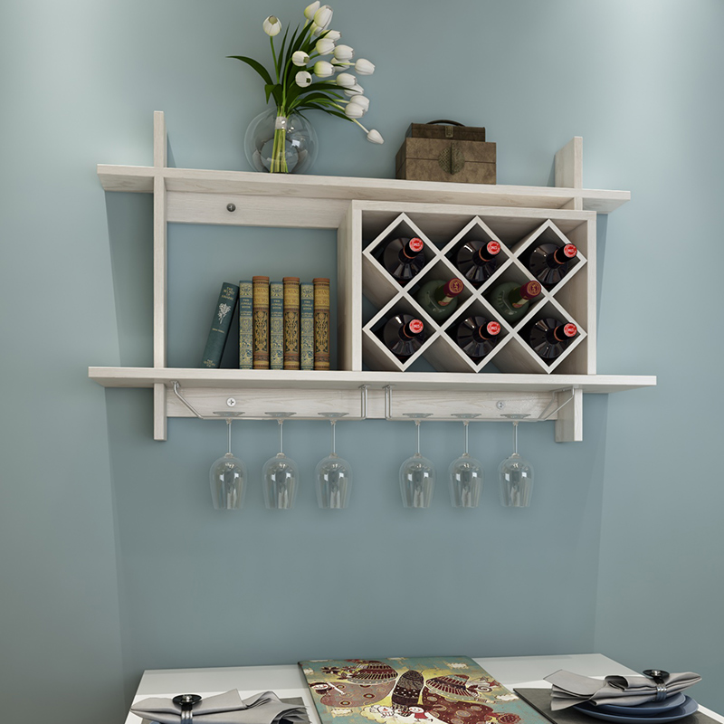 实木酒架壁挂式家用墙上置物架菱形红酒格子现代简约悬挂餐厅酒柜