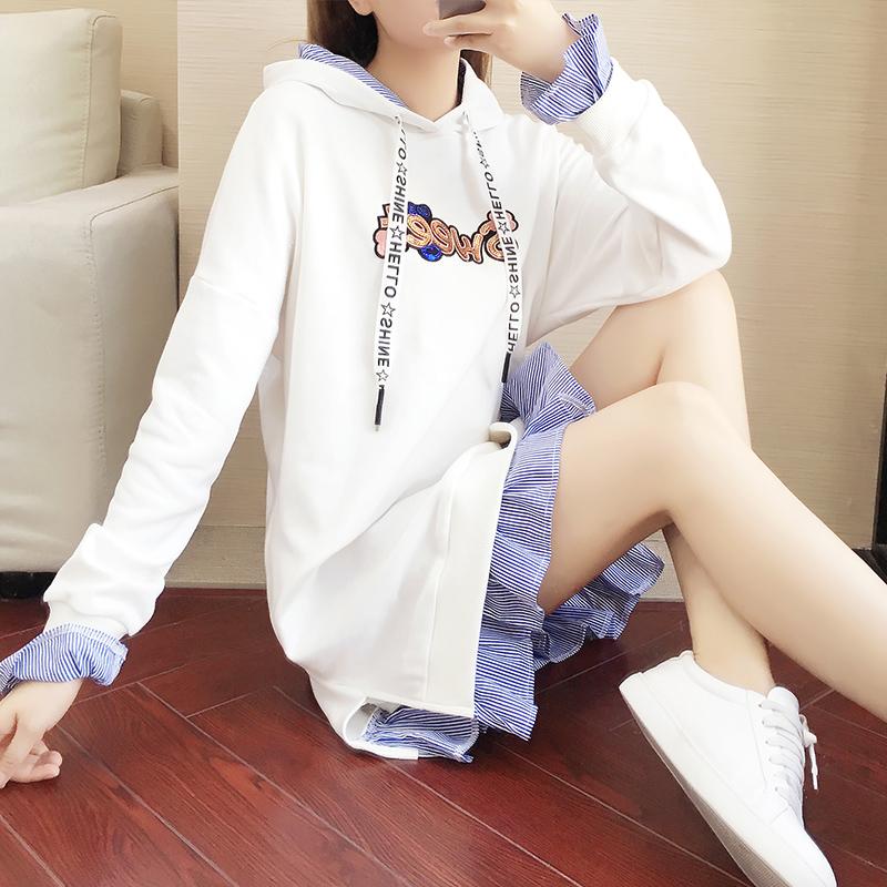 连衣裙女2021春秋学生韩版网红洋气假两件带帽宽松显瘦卫衣裙子
