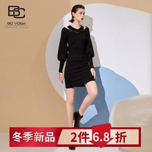 套装百丝折扣BCVOGA2019冬季新品长袖针织上衣包臀针织裙两件套女