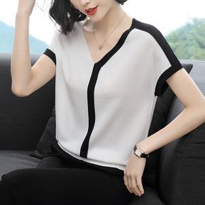 短袖女2020夏季新款韩版冰丝t恤女宽松薄款V领蝙蝠袖针织衫上衣女图片