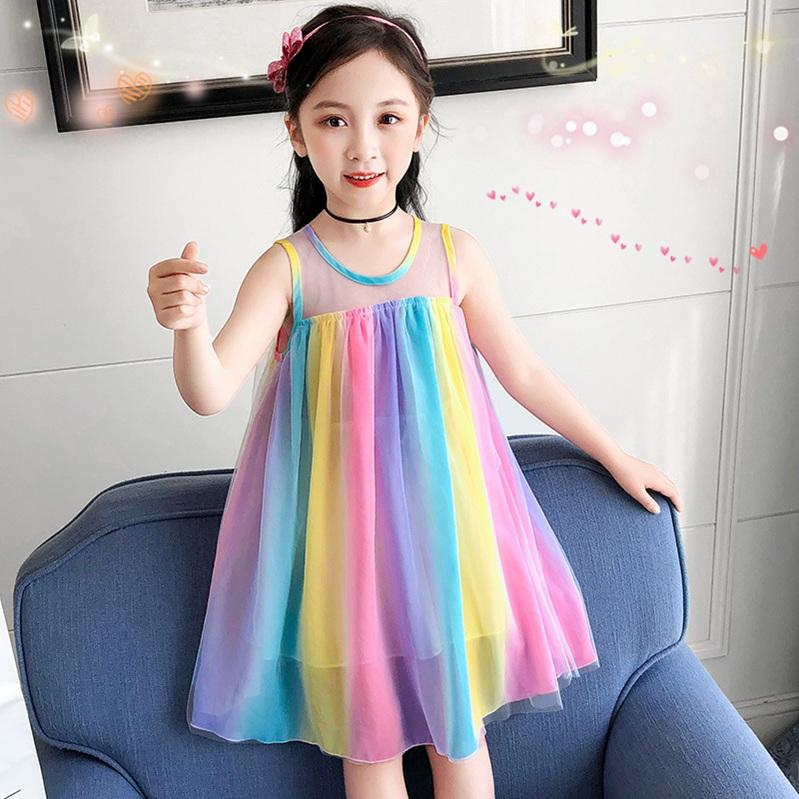 Girls dress summer 2020 new little girl rainbow princess skirt striped short sleeve Shorts Set foreign style