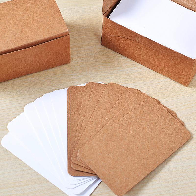 2 коробки бесплатная доставка по китаю Бумага для сообщений с карточной бумагой пустая белый Английский язык один Слово карта кожаный Открытка на карточной карточке 100 листов