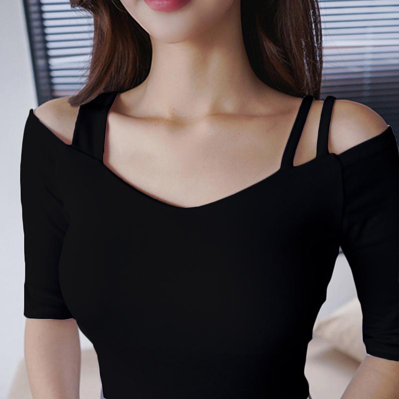 黑色中袖打底衫一字肩v领露背性感锁骨上衣显瘦心机露肩女短袖T恤