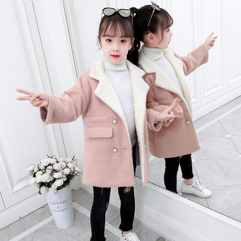女童冬装毛呢外套2019新款洋气夹棉加厚水貂绒呢子大衣儿童中大童
