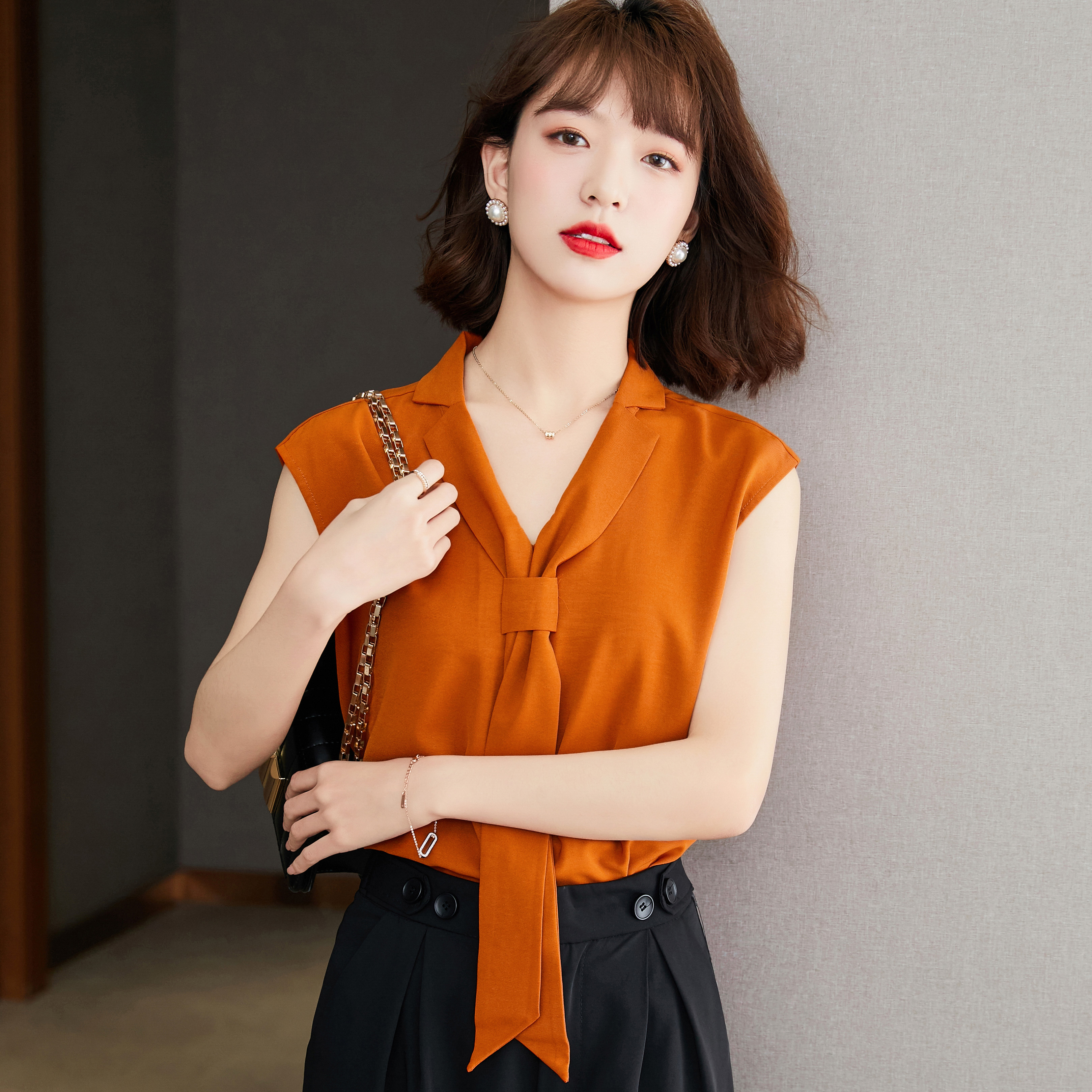 2021 summer style off shoulder top womens new Korean vest foreign style small shirt loose Ribbon Shirt