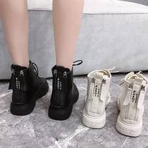 百丽平底短靴女冬季加绒马丁靴粗跟真皮磨砂裸靴切尔西女靴金特