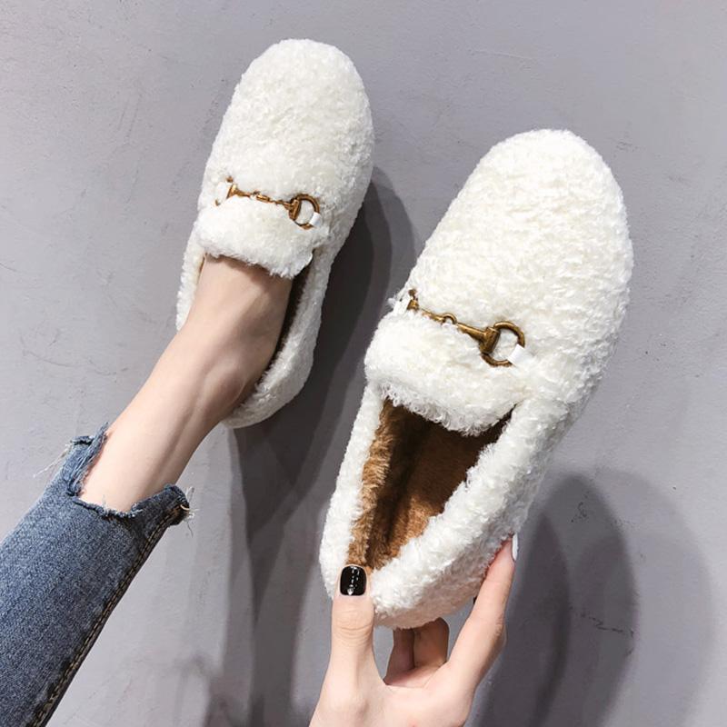 白色毛毛鞋女冬2019新款羊羔毛一脚蹬平底防滑豆豆鞋加绒保暖棉鞋限4000张券