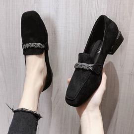 暗黑色小皮鞋女英伦风2020春季新款中性水钻方头粗跟单鞋中跟复古