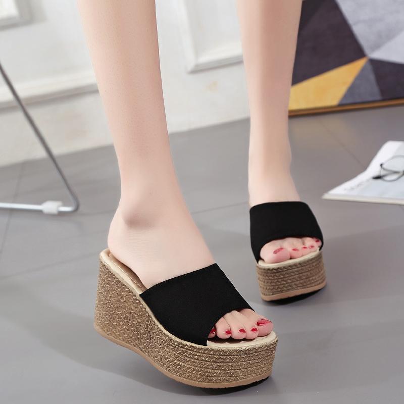 (用20元券)2019夏季新款坡跟厚底高跟女拖鞋