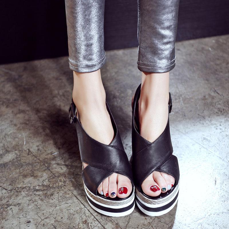 真皮2021夏季新款凉鞋高跟坡跟百搭仙女风网红学生罗马鞋时尚女鞋