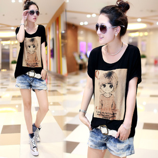 2015 summer new Korean version of large size women long section modal cotton loose bat shirt lady short sleeved tide