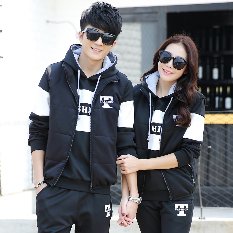 Autumn and winter new 2020 couples sweater three piece set thickened Plush Korean hooded casual suit sportswear