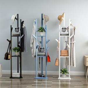 简易衣帽架实木置物架多功能现代小收纳架简约家用挂衣架落地卧室