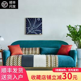 新款拼色小户型日式田园创意单人双人三人座北欧客厅书房布艺沙发图片